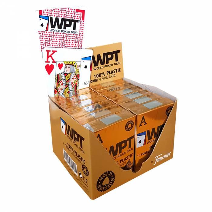 """Cartouche Fournier """"WPT"""" – 12 jeux de 54 cartes 100% plastique – format poker - 2 index jumbo"""