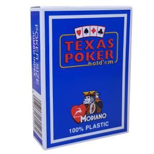 Modiano Texas Poker hold'em - Jeu de 54 cartes 100% plastique – format poker - 2 index jumbo