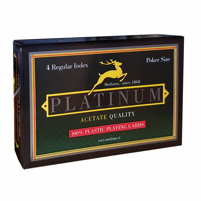 """Modiano Duo Pack """"PLATINUM"""" – 2 jeux de 54 cartes 100% plastique – format poker – 4 index standards"""