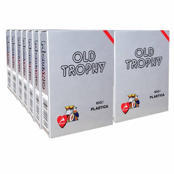 """Pack Modiano """"OLD TROPHY"""" rouges – 14 Jeux de 55 cartes 100% plastique – format poker – 4 index standards"""