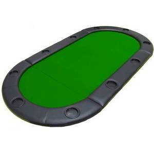 Dessus de table de poker ovale – plateau en bois et tapis en feutrine – bords simili cuir en mousse – 180x90 cm