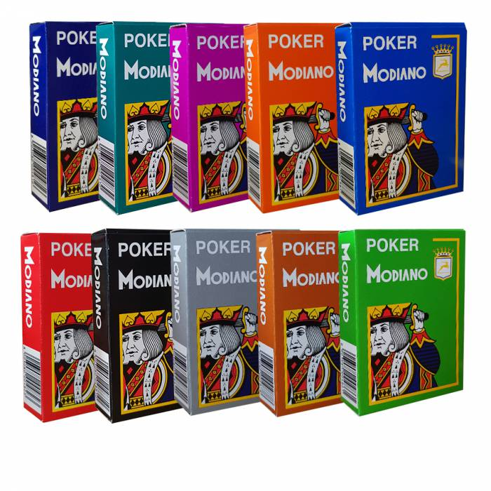"""Pack Modiano """"CRISTALLO"""" - 10 Jeux de 54 cartes 100% plastique – format poker - 4 index jumbo"""