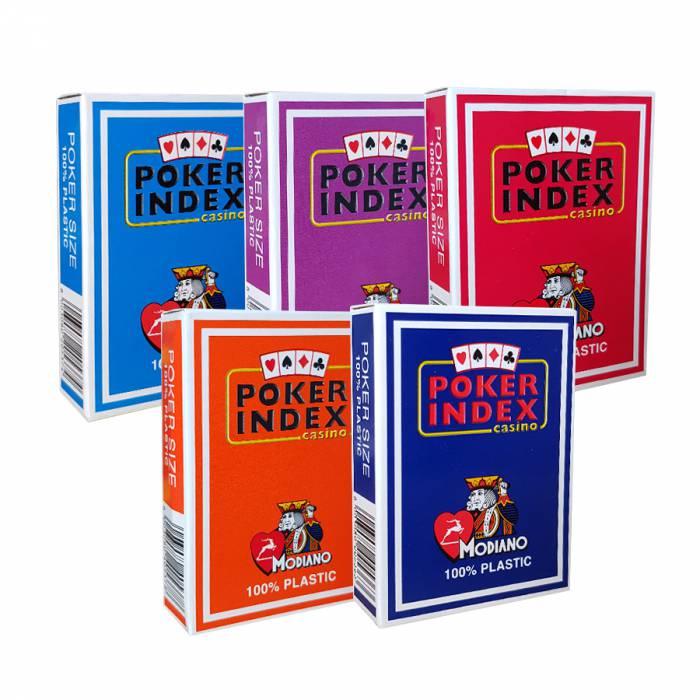 """Pack Modiano """"POKER INDEX CASINO"""" - 5 Jeux de 55 cartes 100% plastique – format poker – 4 index standards – 2 index jumbo"""