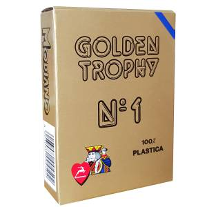 "Modiano ""GOLDEN TROPHY"" – Jeu de 54 cartes 100% plastique – format poker – 4 index standards"