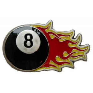 Boucle de ceinturon 8 BALL OF FIRE – en métal – adaptable à la plupart des ceinturons