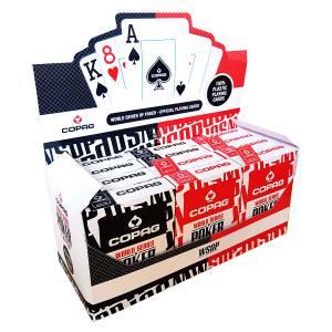 """Cartouche Copag """"WSOP"""" – 12 jeux de 55 cartes 100% Plastique – format poker – 2 index jumbo"""