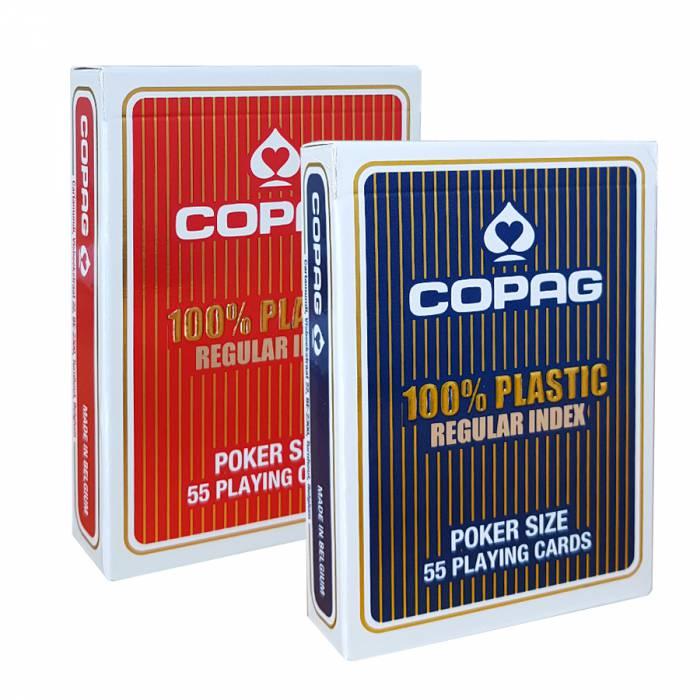 """Duo Pakc Copag """"REGULAR"""" – 2 jeux de 55 cartes 100% Plastique – format poker – 2 index standards"""