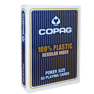 "Copag ""REGULAR"" – jeu de 55 cartes 100% Plastique – format poker – 2 index standards"