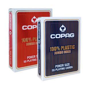 "Duo Pack Copag ""JUMBO"" – 2 jeux de 55 cartes 100% Plastique – format poker – 2 index jumbo"