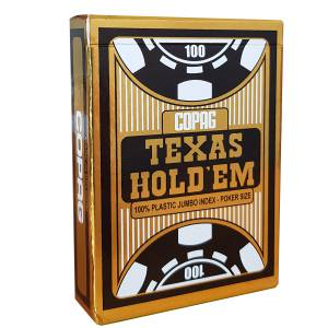 "Copag ""TEXAS HOLD'EM GOLD"" - Jeu de 55 cartes 100% plastique – format poker – 2 index jumbo"