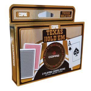 """Duo pack Copag """"TEXAS HOLD'EM GOLD"""" - 2 Jeux de 55 cartes 100% plastique – un bouton dealer metal - format poker – 2 index jumbo"""