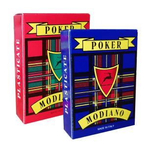 """Duo Pack Modiano """"POKER LUSSO 105"""" – Jeu de 55 cartes cartonnées plastifiées – format poker – 4 index standards"""