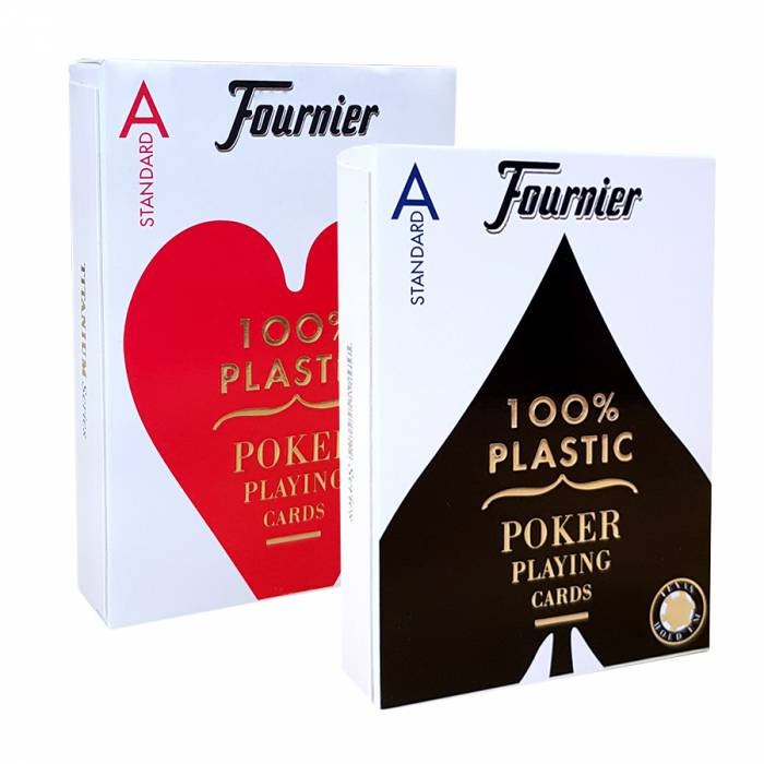 "Duo Pack Fournier ""TITANIUM SERIES"" Standard - 2 Jeux de 55 cartes 100% plastique – format poker - 4 index standards"