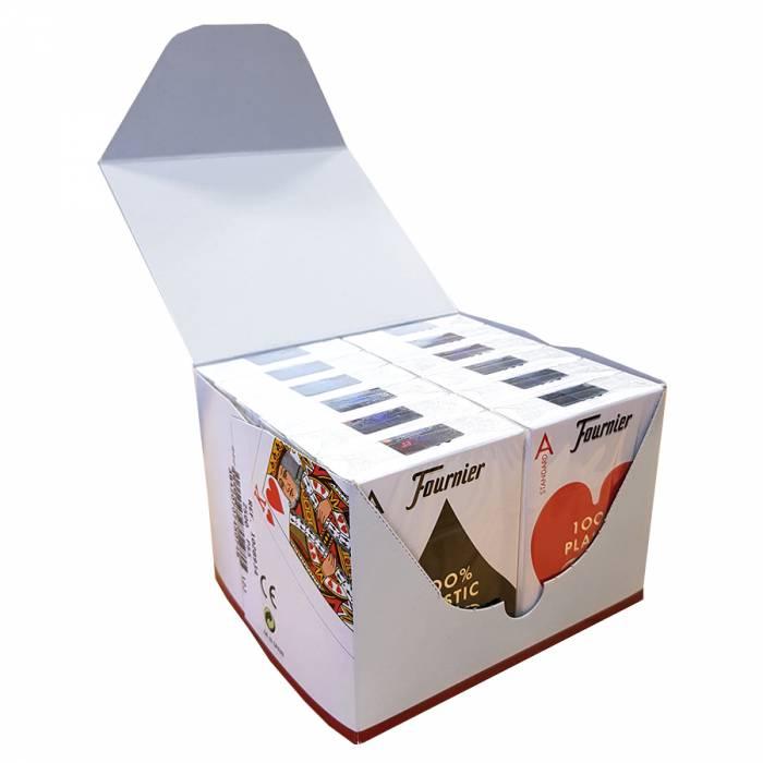 """Cartouche Fournier """"TITANIUM SERIES"""" Standard - 12 Jeux de 55 cartes 100% plastique – format poker - 4 index standards"""