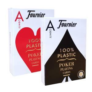 "Duo Pack Fournier ""TITANIUM SERIES"" Jumbo - 2 Jeux de 55 cartes 100% plastique – format poker - 2 index Jumbo"