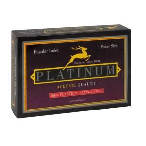 "Duo Pack Modiano ""PLATINUM"" regular – 2 jeux de 55 cartes 100% plastique – format poker – 2 index standards"