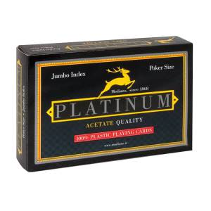 "Duo Pack Modiano ""PLATINUM"" Jumbo– 2 jeux de 55 cartes 100% plastique – format poker – 2 index jumbo"