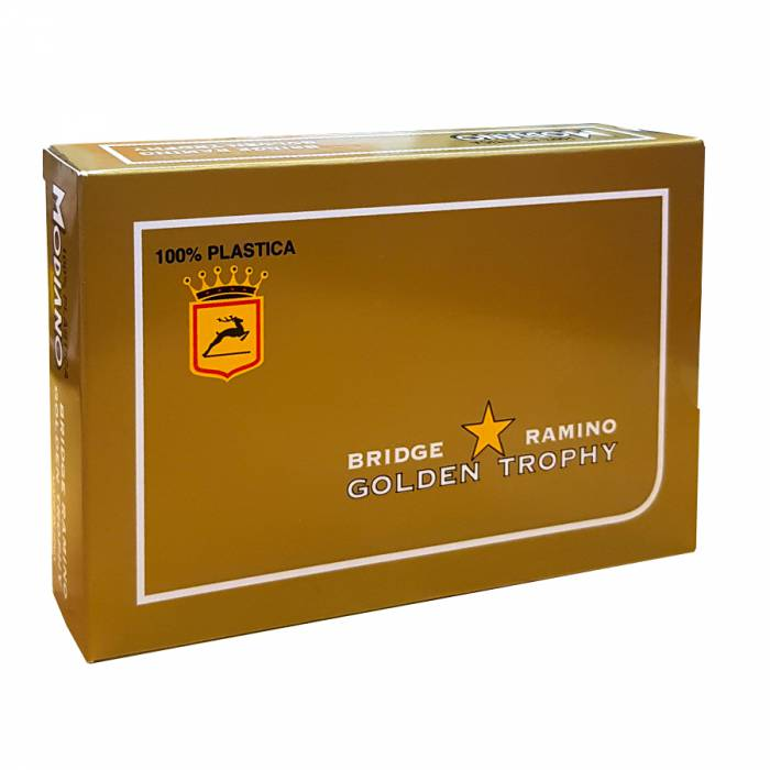 "Duo pack Modiano ""GOLDEN TROPHY"" – 2 Jeux de 54 cartes 100% plastique – format poker – 4 index standards"