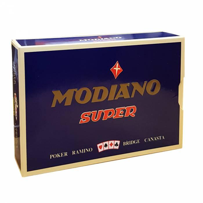"""Duo Pack Modiano """"SUPER"""" – 2 Jeux de 55 cartes 100% plastique – format poker – 4 index standards"""