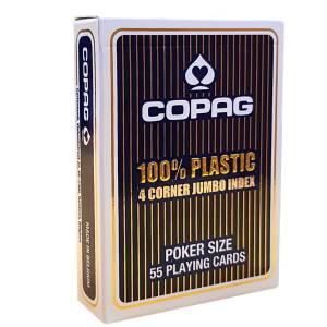 """Copag """"4 CORNER"""" – 100% Plastique – jeu de 54 cartes – format poker – 4 index jumbo"""