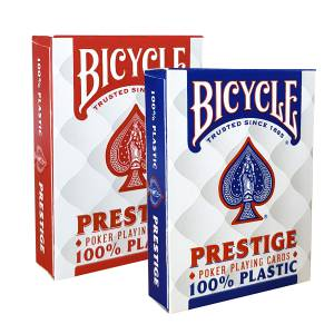"Duo Pack Bicycle ""PRESTIGE"" - 2 jeux de 55 cartes 100% Plastique – format poker – 2 index jumbo"