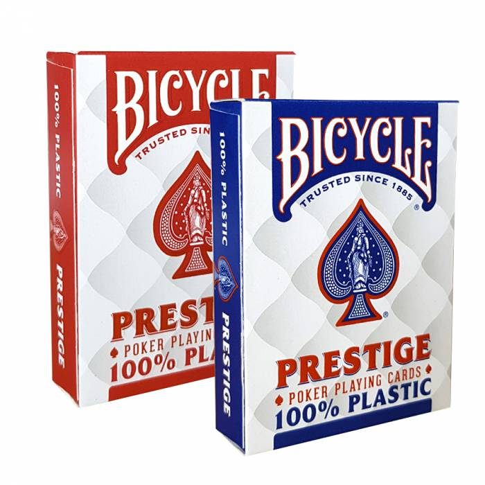 "Duo Pack Bicycle ""PRESTIGE"" - 2 jeux de 55 cartes 100% Plastique – format poker – 2 index jumbo"