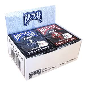 """Cartouche Bicycle """"PRO POKER PEEK"""" - 6 Jeux de 56 cartes toilées plastifiées – format poker – 4 index standards, 2 index jumbo"""