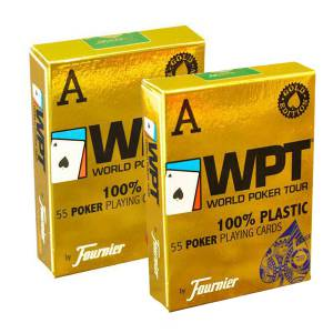 """Duo Pack Fournier """"WPT"""" – 2 jeux de 55 cartes 100% plastique – format poker - 2 index jumbo"""