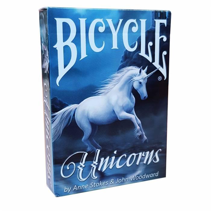 """Bicycle """"ANNE STOKES UNICORNS""""- jeu de 56 cartes cartonnées plastifiées – format poker – 2 index standards"""