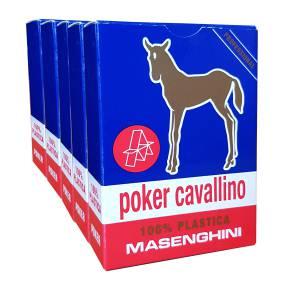 """Cartouche Masenghini """"CAVALLINO"""" Bleu - 5 Jeux de 55 cartes 100% plastique - Format Poker XL - 4 index standards"""