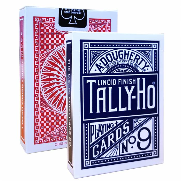 "Duo pack TALLY HO ""N°9"" - 2 jeux de 56 cartes toilées plastifiées – format poker – 2 index standards"