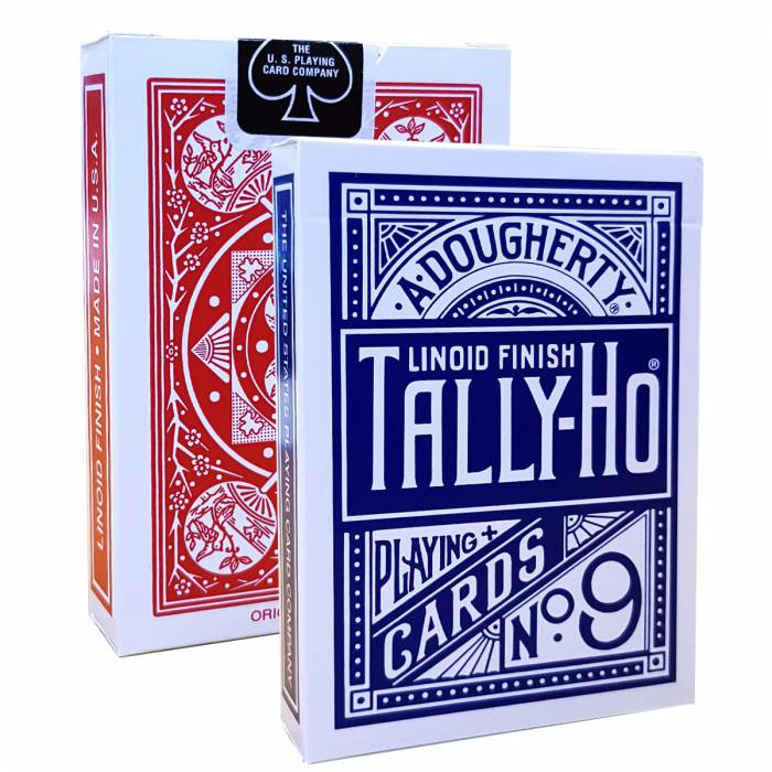 "Duo Pack TALLY HO ""FAN BACK"" - 2 Jeux de 56 cartes toilées plastifiées – format poker – 2 index standards"