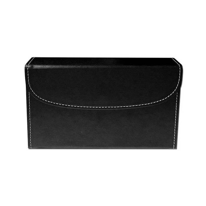 Boîtier de rangement en cuir pour 2 jeux de cartes – emplacement pour 5 dés – intérieur en velours noir