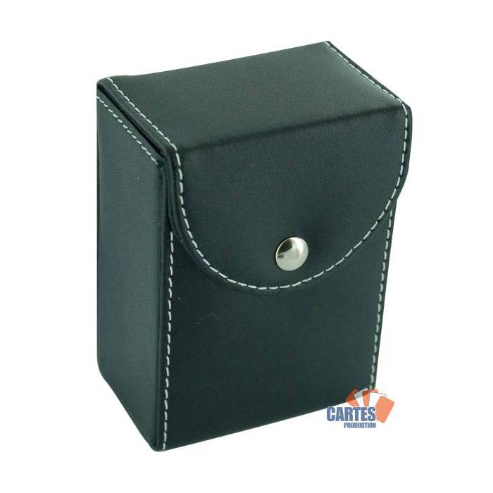 Étui de rangement en cuir pour 2 jeux de cartes – surpiqûres blanches – fermeture par bouton pression