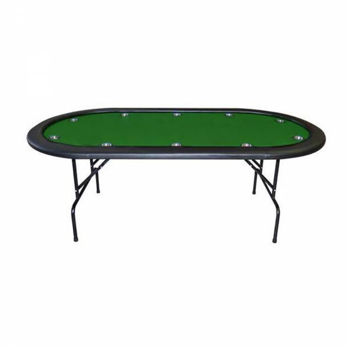 "Table de poker ovale ""VEGAS NIGHT"" pliante avec cup holder – tapis en feutrine et 10 cup holder – 10 joueurs"