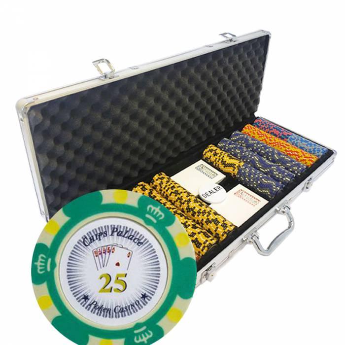 """Mallette de 500 jetons de Poker """"CROWN"""" - version TOURNOI - en clay composite 14 g - avec accessoires"""