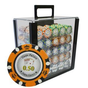 """Bird Cage de 1000 jetons de poker """"CROWN"""" - version CASH GAME - en clay composite 14 g"""