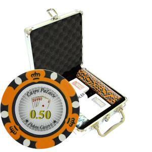 "Mallette de 100 jetons de poker ""CROWN"" - version CASH GAME - en clay composite 14 g - avec accessoires"