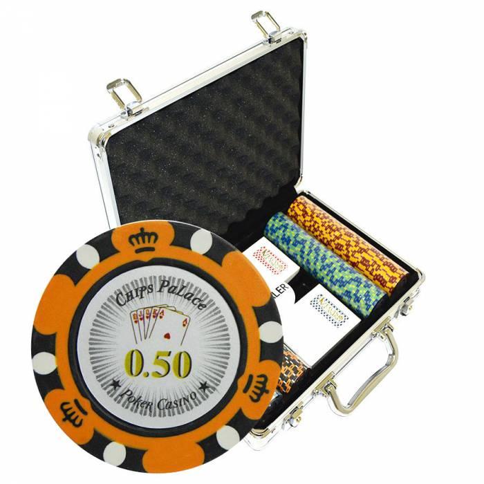 """Mallette de 200 jetons de Poker """"CROWN"""" - en version CASH GAME - en clay composite 14 g - avec accessoires"""