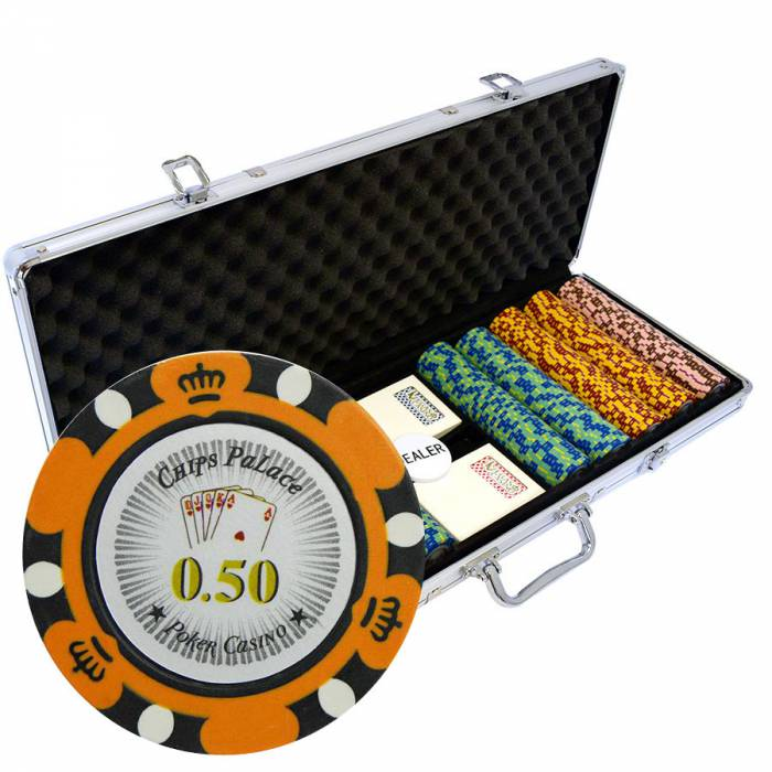 "Mallette de 500 jetons de Poker ""CROWN"" - version CASH GAME - en clay composite 14 g - avec accessoires"