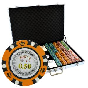 "Mallette de 1000 jetons de poker ""CROWN"" - version CASH GAME - en clay composite 14 g - avec accessoires"