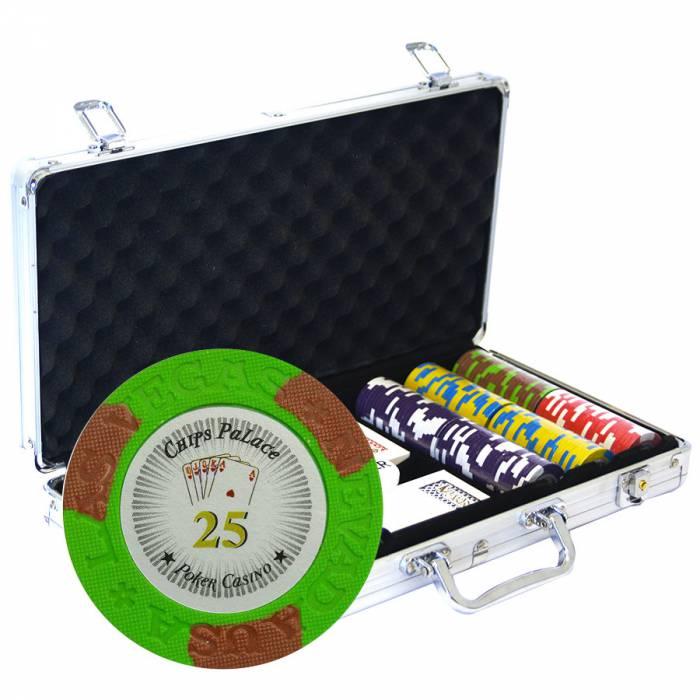 """Mallette de 300 jetons de poker """"LAS VEGAS"""" - version TOURNOI - en clay composite 14 g - avec accessoires"""