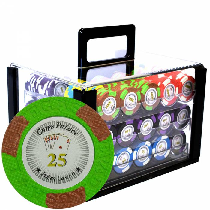 """Bird Cage de 600 jetons de poker """"LAS VEGAS"""" - version TOURNOI - en clay composite 14 g"""
