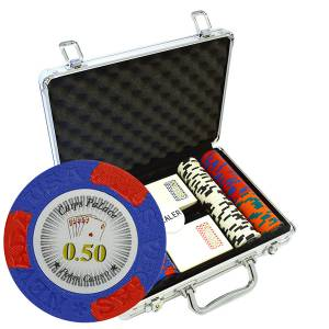 "Mallette de 200 jetons de poker ""LAS VEGAS"" - version CASH GAME - en clay composite 14 g - avec accessoires"