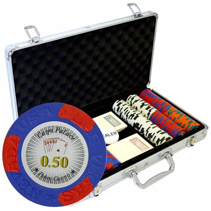 """Mallette de 300 jetons de poker """"LAS VEGAS"""" - version CASH GAME - en clay composite 14 g - avec accessoires"""