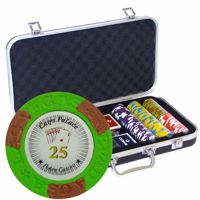 """Mallette Premium de 300 jetons de poker """"LAS VEGAS""""  - version TOURNOI - en clay composite 14 g - avec accessoires"""