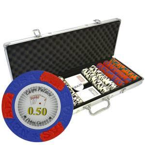 """Mallette de 500 jetons de poker """"LAS VEGAS"""" - version CASH GAME - en clay composite 14 g - avec accessoires"""
