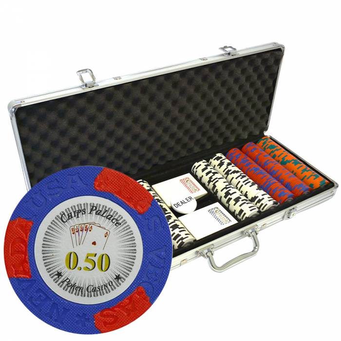 "Mallette de 500 jetons de poker ""LAS VEGAS"" - version CASH GAME - en clay composite 14 g - avec accessoires"