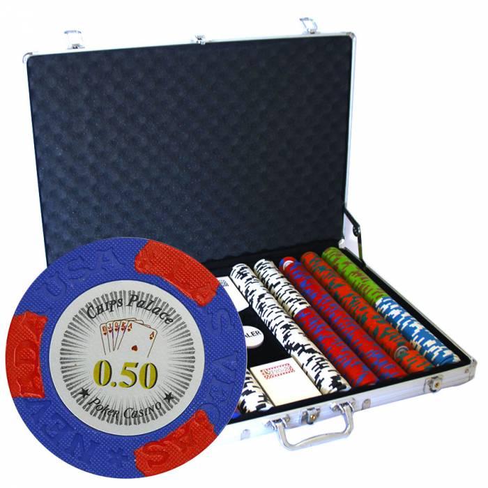 """Mallette de 1000 jetons de poker """"LAS VEGAS"""" - version CASH GAME - en clay composite 14 g - avec accessoires"""