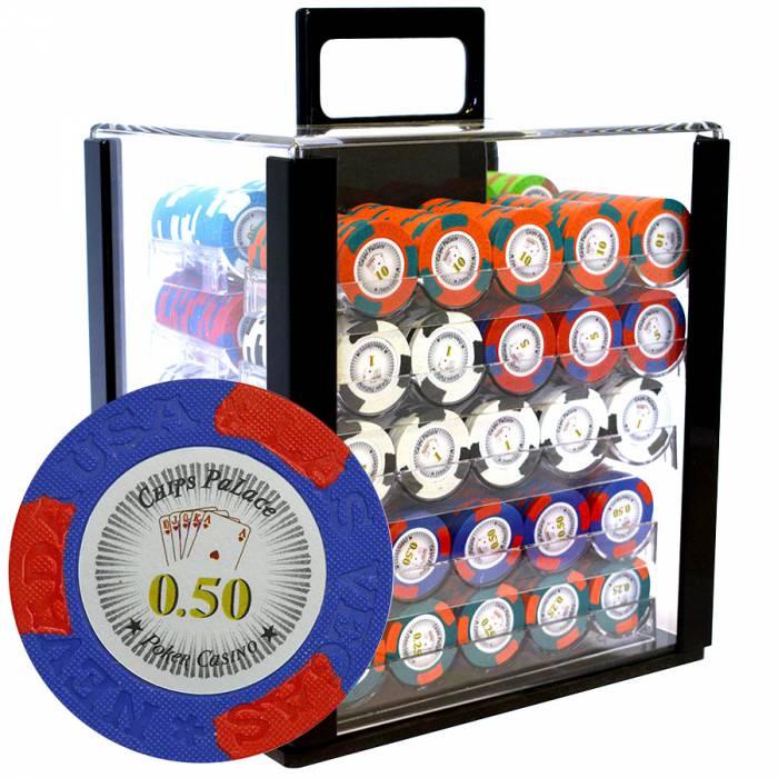 """Bird Cage de 1000 jetons de poker """"LAS VEGAS"""" - version CASH GAME - en clay composite 14 g - avec accessoires"""